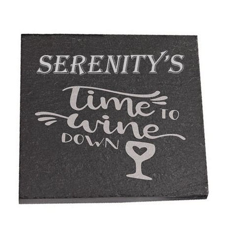 Serenity Personalised Slate Coaster gift Time To Wine Down Personalised with Any Name