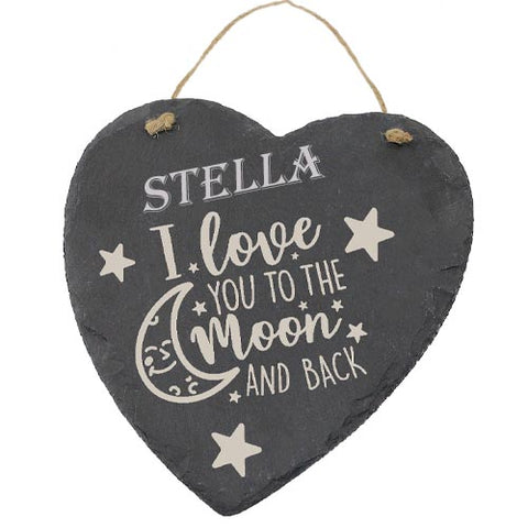Stella Customised Gift Slate Heart I Love you to The Moon And Back Personalised with Any Name