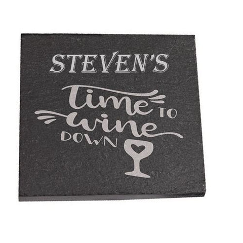 Steven Personalised Slate Coaster gift Time To Wine Down Personalised with Any Name