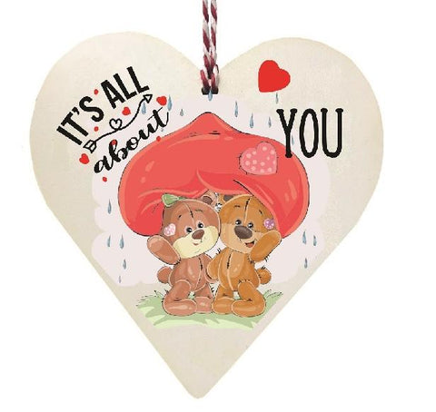 Its All About You Teddy Bears Umberella in Rain Wooden Hanging Love Heart Valentines Gift