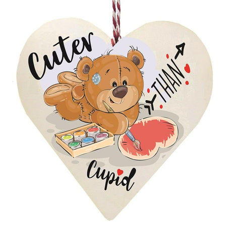 Cuter Than Cupid Bear Painting Wooden Hanging Love Heart Valentines Gift