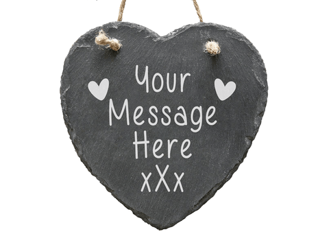 Large Personalised Engraved Heart Hanging Wall Slate