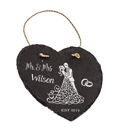 Wedding Day Personalised Mr & Mrs Gift Marriage Present Heart Hanging Slate