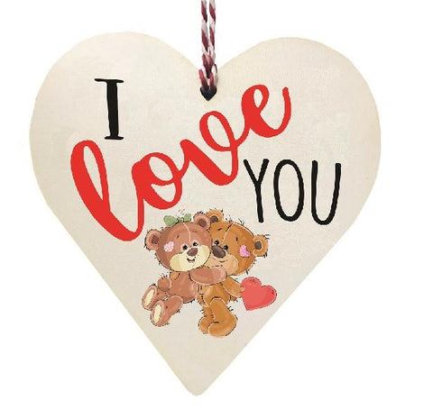 I Love You Teddy Bears Hugging Wooden Hanging Love Heart Valentines Gift