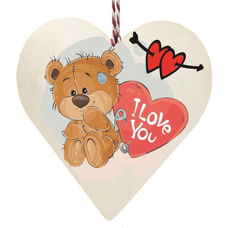 I Love You Sitting Bear Wooden Hanging Love Heart Valentines Gift