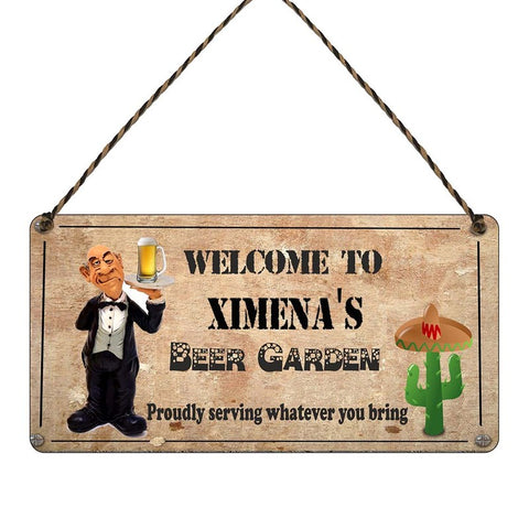 any name Personalised beer Garden gift sign Ximenas