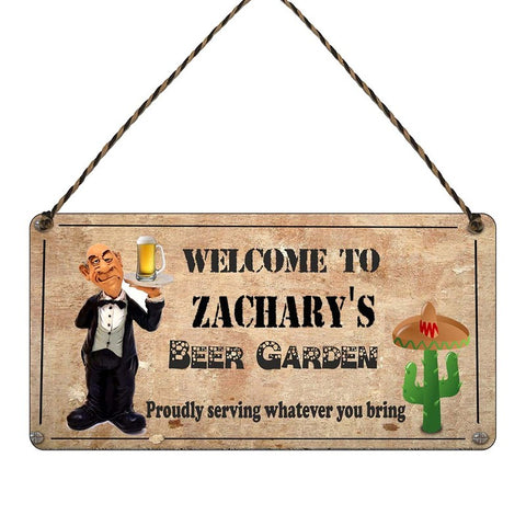 any name Personalised beer Garden gift sign Zacharys