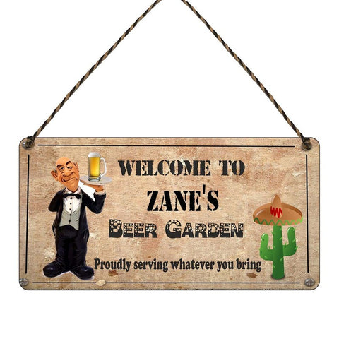 any name Personalised beer Garden gift sign Zanes