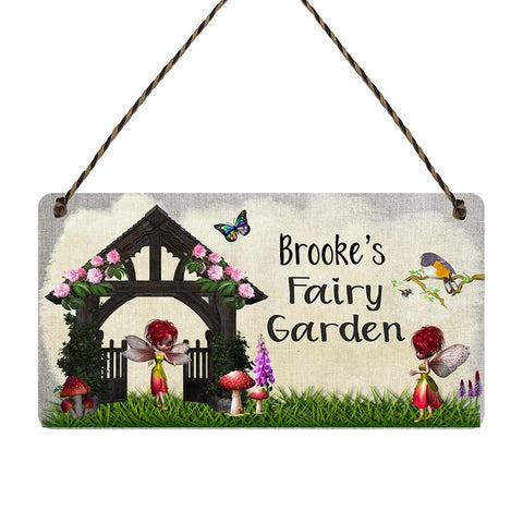 any name Personalised Fairy Garden gift sign Brookes