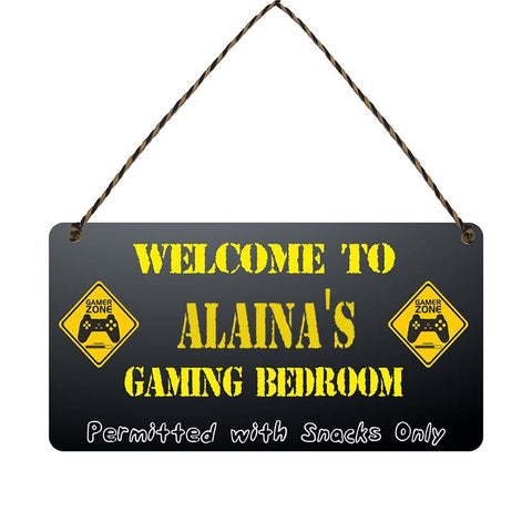 any name Personalised gamer bedroom gift sign Alainas