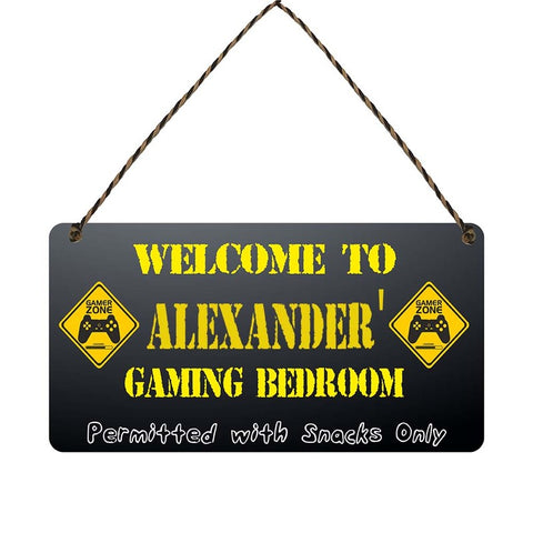 any name Personalised gamer bedroom gift sign Alexanders