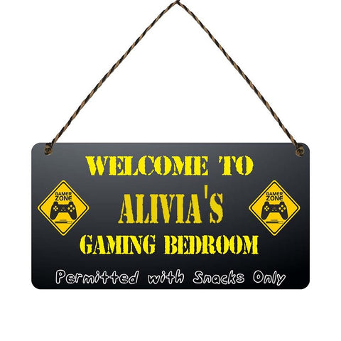 any name Personalised gamer bedroom gift sign Alivias