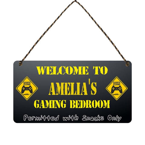 any name Personalised gamer bedroom gift sign ame lias