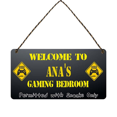 any name Personalised gamer bedroom gift sign Anas