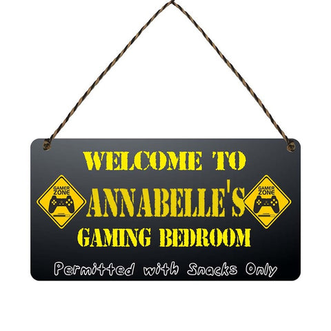any name Personalised gamer bedroom gift sign Annabelles