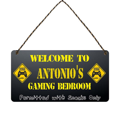 any name Personalised gamer bedroom gift sign Antonios