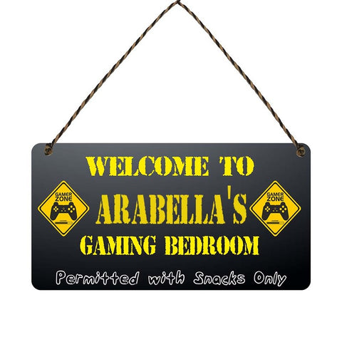 any name Personalised gamer bedroom gift sign Arabellas