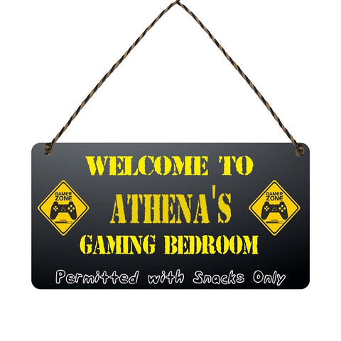 any name Personalised gamer bedroom gift sign Athenas