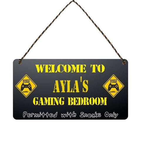 any name Personalised gamer bedroom gift sign Aylas