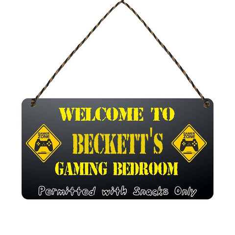 any name Personalised gamer bedroom gift sign Becketts