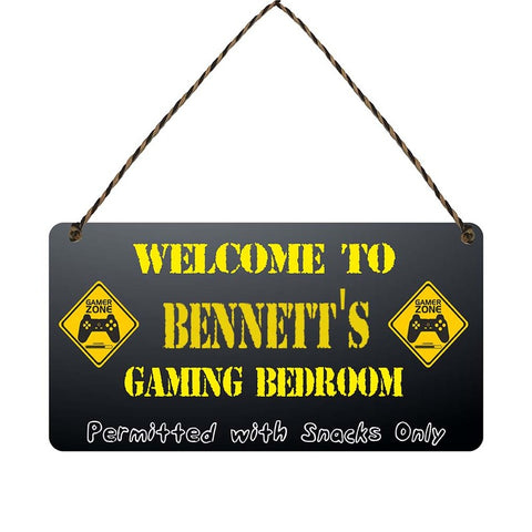 any name Personalised gamer bedroom gift sign Bennetts