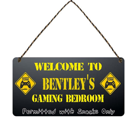 any name Personalised gamer bedroom gift sign Bentleys