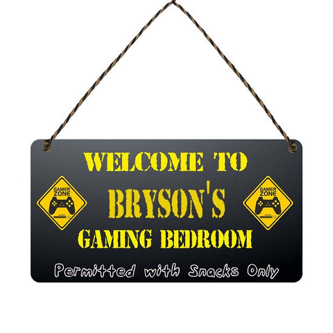 any name Personalised gamer bedroom gift sign Brysons