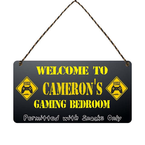 any name Personalised gamer bedroom gift sign Camerons