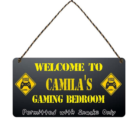 any name Personalised gamer bedroom gift sign Camilas