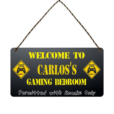 any name Personalised gamer bedroom gift sign Carloss