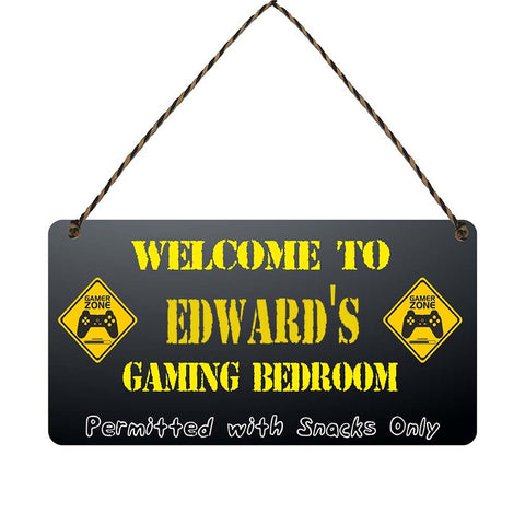 any name Personalised gamer bedroom gift sign Edwards