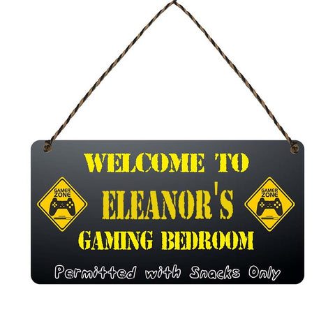 any name Personalised gamer bedroom gift sign Eleanors