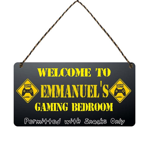 any name Personalised gamer bedroom gift sign Emmanuels