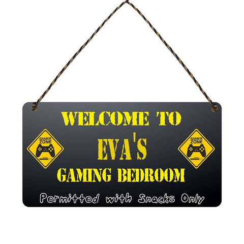 any name Personalised gamer bedroom gift sign Evas