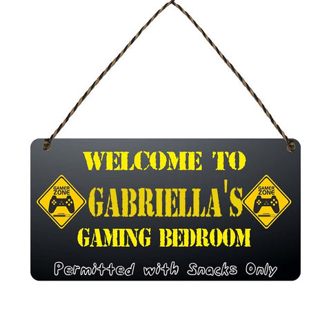 any name Personalised gamer bedroom gift sign Gabriellas