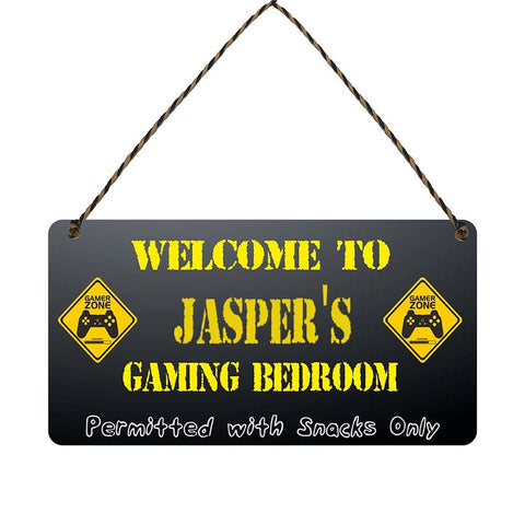 any name Personalised gamer bedroom gift sign Jaspers