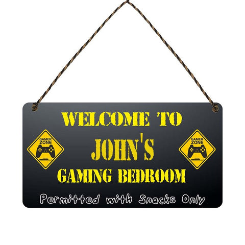 any name Personalised gamer bedroom gift sign Johns