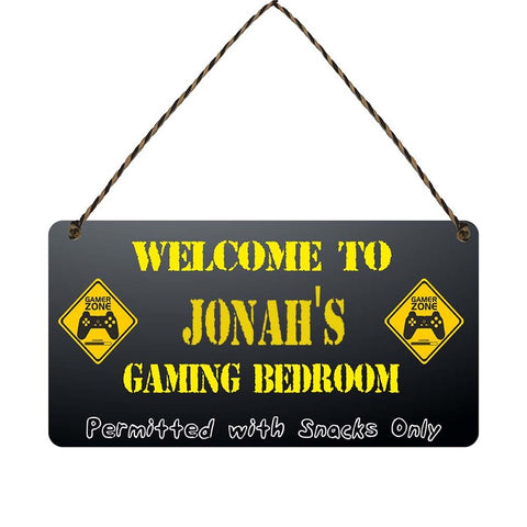 any name Personalised gamer bedroom gift sign Jonahs
