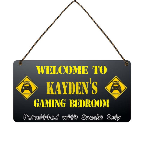 any name Personalised gamer bedroom gift sign Kaydens
