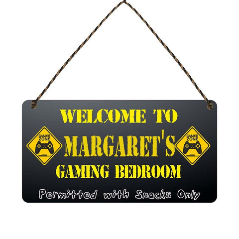 any name Personalised gamer bedroom gift sign Margarets