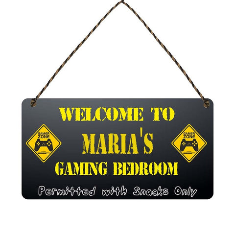 any name Personalised gamer bedroom gift sign Marias