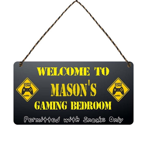 any name Personalised gamer bedroom gift sign Masons