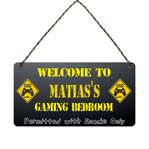 any name Personalised gamer bedroom gift sign Matiass