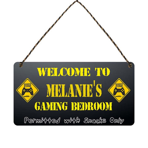 any name Personalised gamer bedroom gift sign Melanies