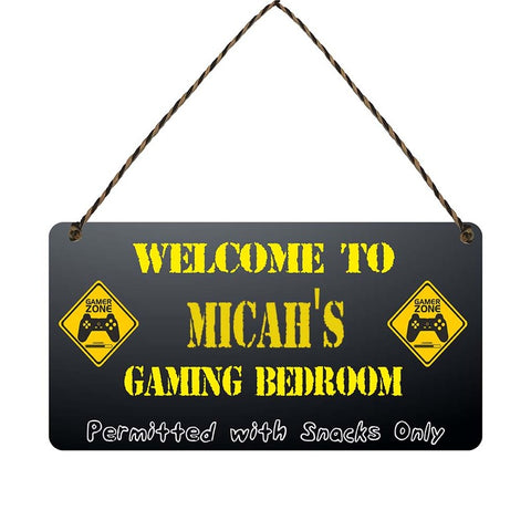 any name Personalised gamer bedroom gift sign Micahs