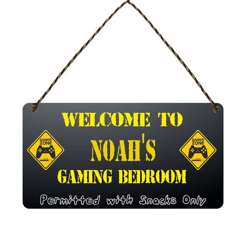 any name Personalised gamer bedroom gift sign Noahs