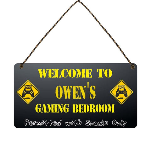any name Personalised gamer bedroom gift sign Owens