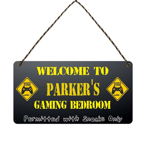 any name Personalised gamer bedroom gift sign Parkers