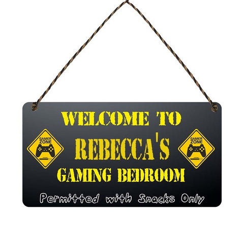any name Personalised gamer bedroom gift sign Rebeccas