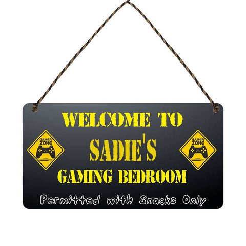 any name Personalised gamer bedroom gift sign Sadies